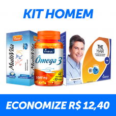 Kit Homem - MultiVita + Ômega 3 + The Hair Men