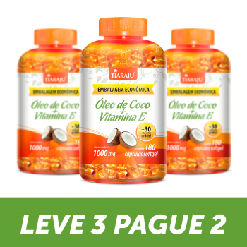 LEVE 3 PAGUE 2 - Óleo de Coco + Vitamina E (1000 mg) - 180+30 Cáps. Softgel